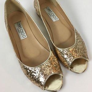 Jimmy Choo PeepToe Champagne Glitter Flats 41